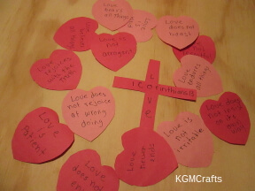 cut 15 hearts and a cross