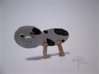 clothespin cow