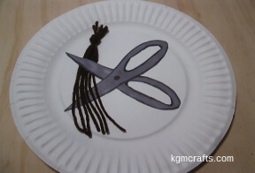 add scissors and hair to plate