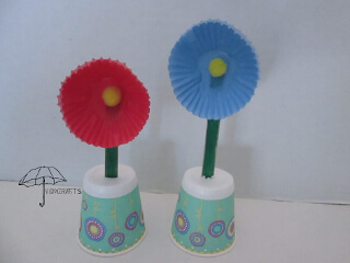 cupcake liner flowers with craft stick stems