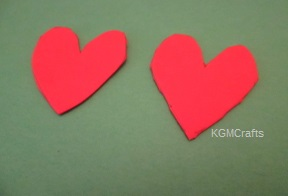cut 2 foam hearts