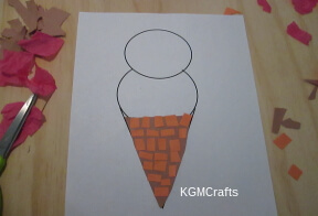 glue rectangle on triangle cone