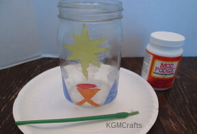 glue pieces to jar