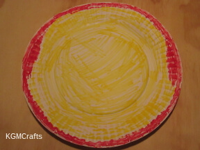 color another plate yellow and red