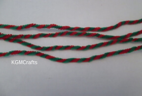 twist red and green pipe cleaners together
