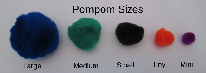 sizes of store bought pompoms
