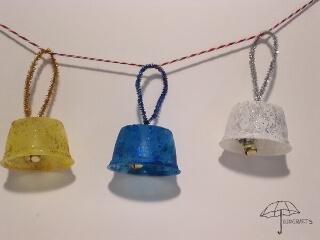 glitter bell ornaments