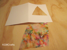 cut a triangle in the card and a square from the coffee filter