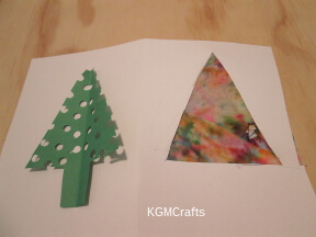 punch holes in the tree and glue the filter to the card