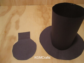 glue the circle to the strip and cut a top for the hat