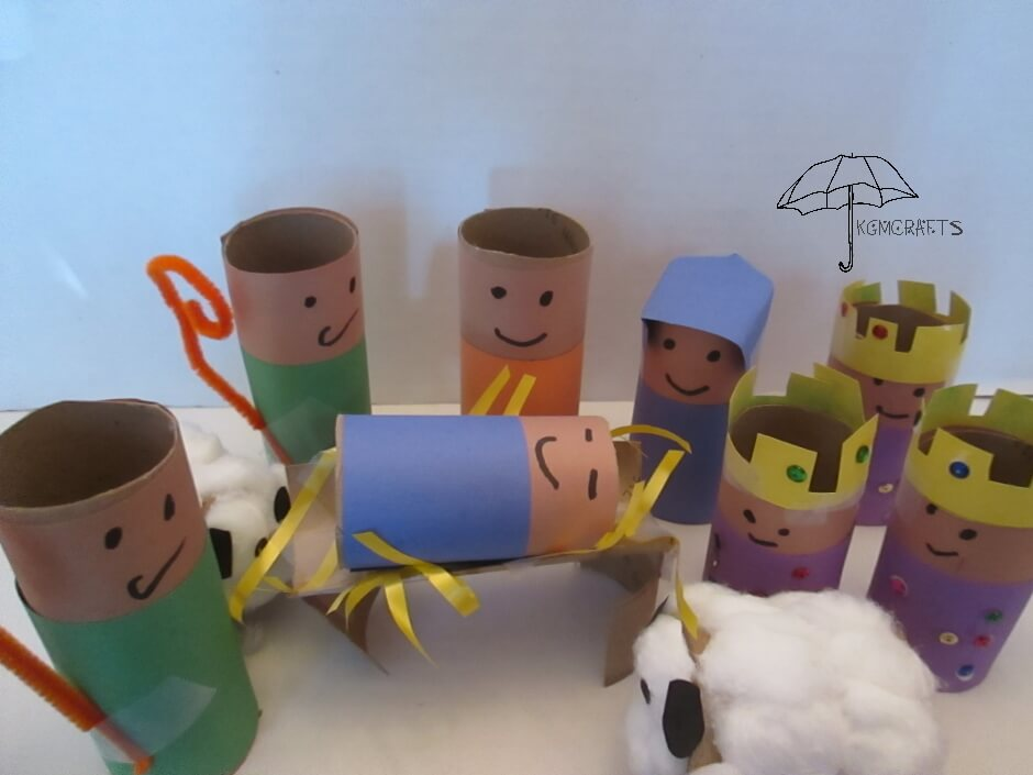 paper roll nativity set