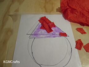 cut pieces of tissue paper for the hat