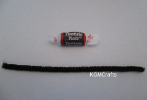 tootsie roll and pipe cleaner