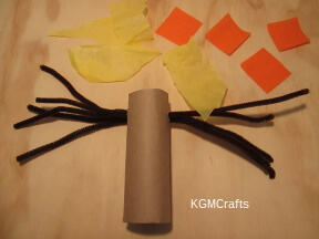 stick the pipe cleaners in the cardboard roll cut tissue