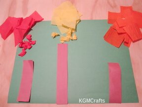 cut rectangles and tissue paper