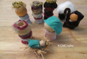 small picture of wooden bead nativity
