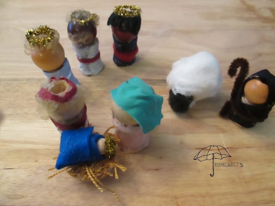 wooden bead nativity